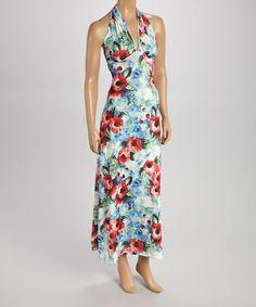 Loving this Blue & Red Floral Halter Maxi Dress on #zulily! #zulilyfinds