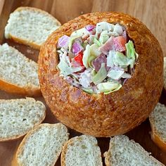 Hoagie Dip: Genius. Taste like a hoagie sandwhich...guests scoop some onto a slice of french bread...instant sandwich.