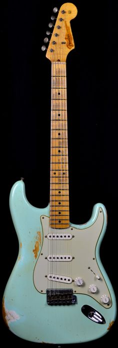 Wild West Guitars : Fender 1956 Stratocaster Heavy Relic AA Flame Maple Neck Faded Surf Green