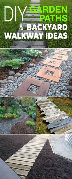 DIY Garden Paths And Backyard Walkway Ideas! Check out all these great ideas and diy projects. Stone pathways walkway stepping stones wood sleepers pallet wood paths and more! DIY Garden Paths And Backyard Walkway, Walkway Ideas, Backyard Landscaping, Path Ideas, Backyard Ideas, Landscaping Ideas, Rock Walkway, Landscaping Software, Garden Steps