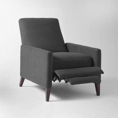 Sedgwick Recliner, Marled Microfiber, Licorice - West Elm - $800