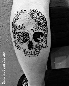 Skull Caveira  Tattoo Blackwork  Flower