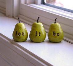 let it be...Three handmade polymer clay pears ... Word Pears