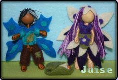Fairies made with pipe cleaners, embroidery floss, beads and felt