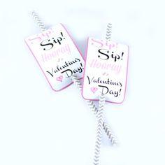 Sip Sip Hooray Valentines Paper Flag Tags
