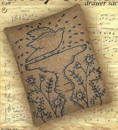 Primitive Folk Art Embroidery Pattern:  IN MY GARDEN