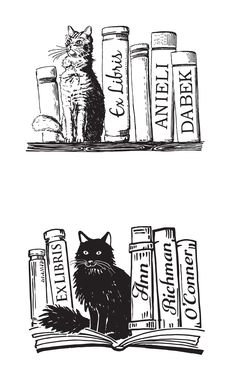 Custom draw and designed Ex Libris Stamps portraying favourite Cats. Cat between the Books is one of the most popular Bookplate motives Ex Libris, Woodcut Art, Chalk Pastels, Custom Stamps, Elements Of Art, Art Studies, Op Art, Art Lessons, Illustration Art