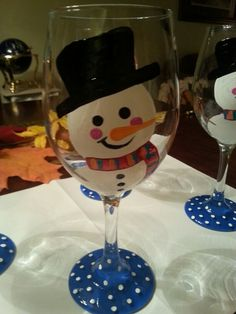 Snowman hand painted wine glasses.