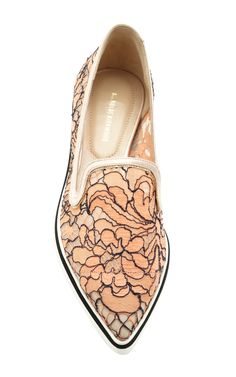 Lace Microsole Loafer In Orange by Nicholas Kirkwood for Preorder on Moda Operandi