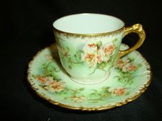 Gorgeous Limoges Borgfeldt Coronet Demitasse Cups Saucers