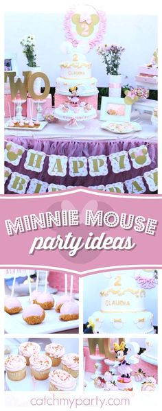 Take a look at this pretty Minnie Mouse birthday party. The birthday cake is stunning!! See more party ideas and share yours at CatchMyParty.com #minnie #girlbirthday