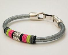 Metallic Silver Neon Round Leather Bangle Pink Lime Grey Bracelet Modern Regaliz Stylebangle 80 S Style Jewelry