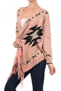 Aztec print sweater print cardigan with fringe detail.