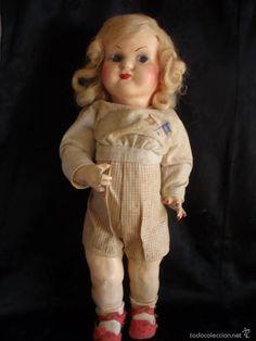 muñeca antigua de carton piedra de la posguerra - Comprar Otras muñecas españolas clásicas en todocoleccion - 58640511 Fur Coat, Dolls, Antiques, Jackets, Collection, Style, Fashion, Jogging Suits, Antique Dolls