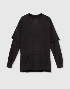 Pull&Bear - hombre - novedades - ropa - sudadera doble manga - gris antracita - 09590540-I2016