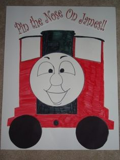 pin the nose on James game..train themed bday party for sage!