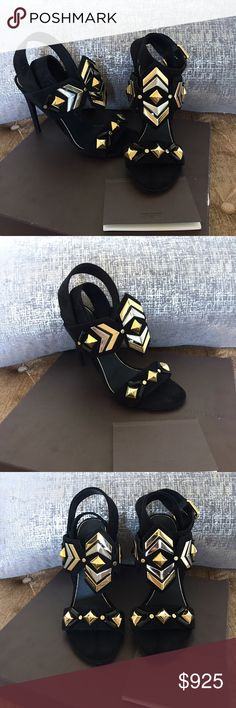 """NWB!! Louis Vuitton """"Shocking"""" sandals Beautiful Authentic Louis Vuitton shocking sandals in black. Absolutely stunning. Gold and silver studded all over. Could totally match any outfit. Come with box care booklet and heel taps. Louis Vuitton Shoes Sandals"""