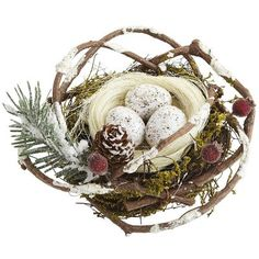 Natural Bird Nest Ornament - would be so pretty hidden in our Christmas tree.