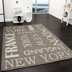 teppich modern flachgewebe sisal optik küchenteppich anthrazit ... - Küche Teppich
