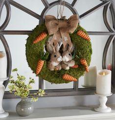"H213806 16"" Bunny & Carrot Moss Wreath"