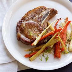 Pork Chop and Roasted Root Vegetables.