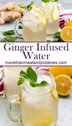 Homemade ginger infused water is so simple to create and can be used as a base ingredient for a number of ginger flavored drinks. #morethanmeatandpotatoes Drink Recipes Nonalcoholic, Non Alcoholic Drinks, Fun Drinks, Yummy Drinks, Cocktails, Low Calorie Meal Plans, Low Calorie Recipes, Meat And Potatoes Recipes, Breakfast Smoothies