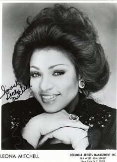 Soprano Leona Mitchell (born October 13, 1949) is best known for singing Bess in the first complete stereo recording of Gershwin's PORGY AND BESS (1975), which earned Mitchell a Grammy Award. After making her operatic debut as Micaela in Bizet's CARMEN with the San Francisco Opera, she reprised the role for her Metropolitan Opera debut in 1975. Mitchell has sung for four US presidents and numerous world dignitaries, including Jimmy Carter, Bill Clinton, Prince Charles and Bishop Desmond…