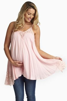 Pink-Polka-Dot-Lace-Accent-Maternity-Tank-Top