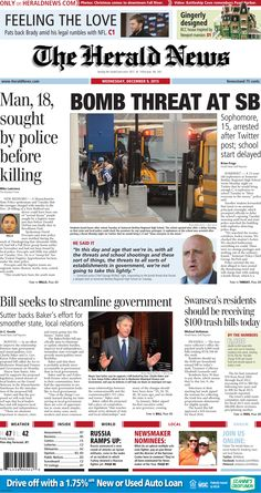 The front page of The Herald News for Wednesday, Dec. 9, 2015.