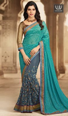 Lovely Paramount Teal Lace Work Designer and Party Wear Saree You will be the center of attention in this attire. This teal faux chiffon Designer saree is accenting the gorgeous feeling. The brilliant attire creates a dramatic canvas with amazing lace work
