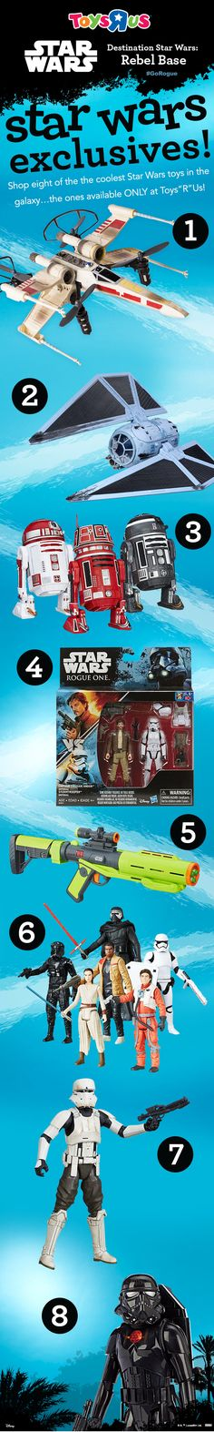 """Got a fan on your holiday shopping list who wants Star Wars toys? Let us help! We've got a host of exclusive Star Wars: Rogue One toys to choose from! Check out these great exclusive Star Wars: Rogue One collectibles, just in time for the holidays - Air Hogs Star Wars RC X-Wing Starfighter Drone; Star Wars: Rogue One Battle Damaged TIE Striker with 3.75"""" Figure; Star Wars The Black Series Astromech Droid 3-pk., and more!"""