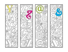 Y Z @ & - Monogram Alphabet Letter and Symbol Bookmarks - PDF Zentangle Coloring Page Colouring Pages, Printable Coloring Pages, Coloring Sheets, H Monogram, Monogram Alphabet, Alphabet Art, Zentangle, How To Make Bookmarks, Cool Fonts