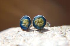 Blue earrings  Sterling silver earrings  Dried by BalanceAtelier