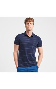 Striped organic cotton polo shirt, Polos, navy, RESERVED