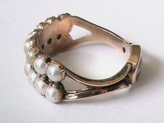 Antique Georgian 9k Gold Pearl Mournring Ring with Locket