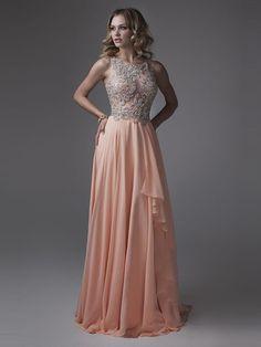 A-Line/Princess Scoop Sleeveless Chiffon Sweep/Brush Train Crystal Dresses