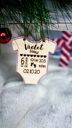 3D Wooden Personalized Baby Ornament, Personalized Baby Stats Ornament, Baby's First Christmas Ornament by CaffeineChaosDesigns on Etsy Baby First Christmas Ornament, Baby Ornaments, Babies First Christmas, Ornament Crafts, Christmas Ornaments, One Smart Cookie, Fishing Signs, Rustic Gifts, Personalized Signs