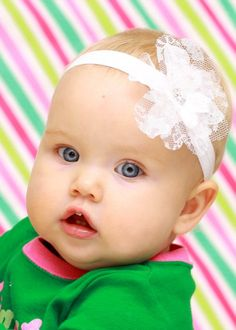 White Baby Headband - White Flower Headband - Newborn Baby Toddler Girls Adult