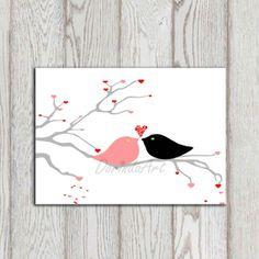 Valentines decor printable Nursery bird print Pink by DorindaArt, $5.00
