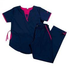 Tefi Poly azul con fucsia – oh! Scrubs Outfit, Scrubs Uniform, Dental Uniforms, Scrubs Pattern, Stylish Scrubs, Scrub Life, Medical Scrubs, Dentistry, Bermuda Shorts