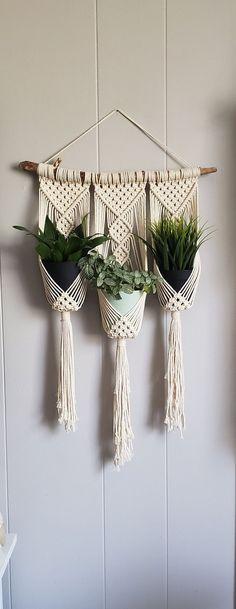 Macrame wall hanging triple plant holder / ombre macrame plant hanger / dip dyed... #diy