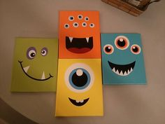 idea for a monster roomCute idea for a monster room Monster Bedroom, Monster Nursery, Kids Canvas, Diy Canvas Art, Halloween Painting, Halloween Crafts, Monster Kindergarten, Painting For Kids, Art For Kids