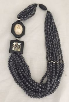 #Master #italian designer #angela caputi bold beautiful grey black resin necklace,  View more on the LINK: http://www.zeppy.io/product/gb/2/222282069859/