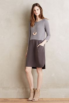 Just bought this in white/black.  Need shoes.  Brown heeled sandals.  Colorblock Shift Dress #anthropologie