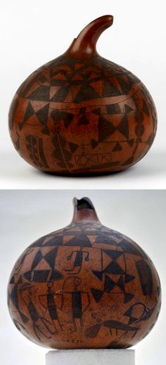 Africa | Vessel from the Mbangala people of Angola | Gourd / calabash; elaborate incised decoration of geometrical, human and bird figure.