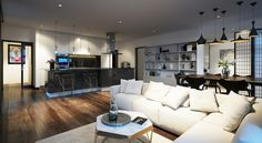Hanway Gardens, Fitzrovia, West End, London, Galliard Homes, Frogmore, Land Securities, Interior, Apartment, living area, kitchen