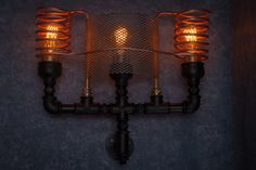 Wall sconce / Steampunk lamp / Rustic home decor / Gift for men / Farmhouse decor / Home decor / urban light by TrUbanCrafts on Etsy Industrial Bathroom Lighting, Sconce Lighting, Home Lighting, Edison Lamp, Wall Lights, Ceiling Lights, Rustic Lamps, Steampunk Lamp, Pipe Lamp