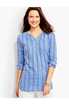 Embroidered-Floral & Chain-Stripe Popover - Talbots