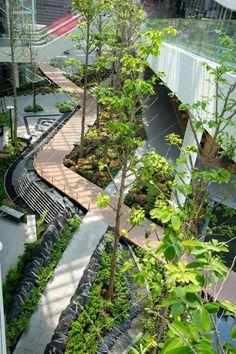 Mega Food Walk by Landscape Collaboration Ltd. Tropical Architecture, Urban Architecture, Beautiful Architecture, Garden Architecture, Landscape Stairs, Landscape Design, Garden Design, Outdoor Walkway, Chinese Garden