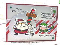 """Ein Weihnachtsmann mit Wackelkopf. Diese weihnachtliche Karte kam von Gabriela aus Wuppertal. verwendet hat sie dafür das Set """"Weihnachtswerkstatt"""" aus dem Saisonkatalog 2018 von Stampin Up!"""